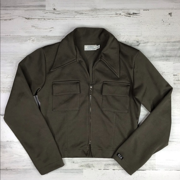 Guess Jackets & Blazers - Guess Cropped Olive Green Jacket Small
